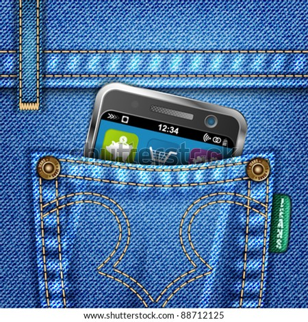Jeans Texture with Mobile Phone, vector illustration - stock vector