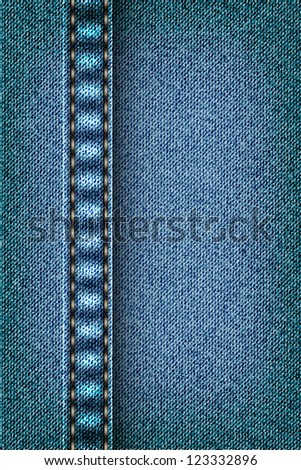 Jeans texture with seam - stock vector