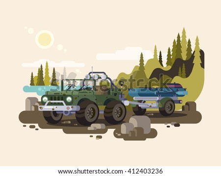Jeep SUV with boat - stock vector