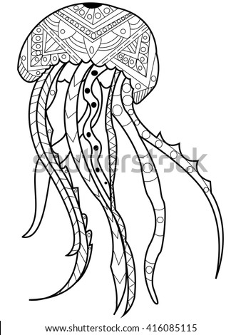 Jellyfish Coloring Book For Adults Vector Illustration Anti Stress Adult Zentangle