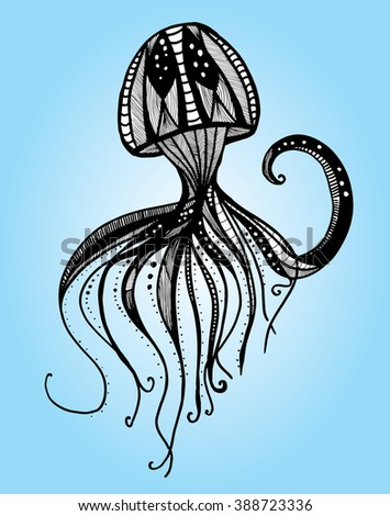 Jellyfish. Sea creatures. A resident of the ocean. Black and white drawing by hand. Line art. Graphic arts. Tattoo. - stock vector