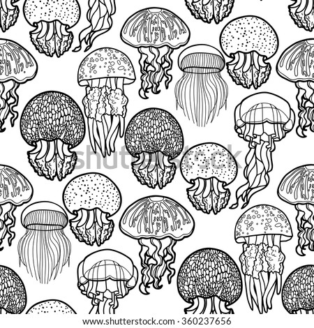 Jellyfish seamless pattern drawn in line art style. Vector ocean animals in black and white colors. Coloring book page design for adults and kids - stock vector