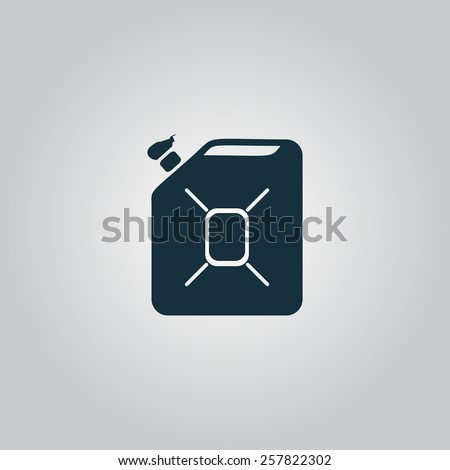 Jerrycan oil. Flat web icon, sign or button isolated on grey background. Collection modern trend concept design style vector illustration symbol - stock vector