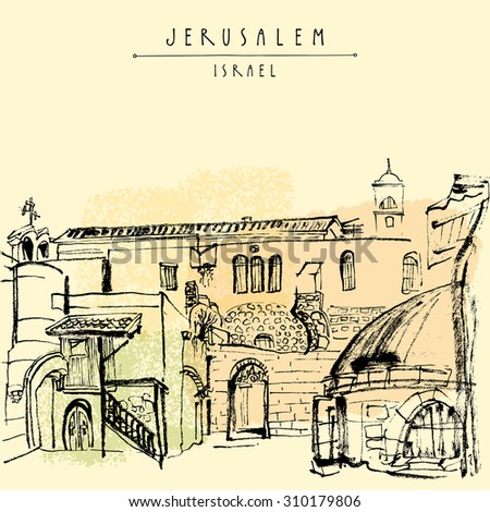 "Jerusalem, Israel. Handmade brush ink drawing isolated in vector. Postcard greeting card graphic design template. Freehand travel sketch background with ""Jerusalem Israel"" hand lettering"