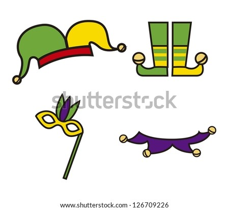 jester cartoon elements over white background. vector illustration - stock vector