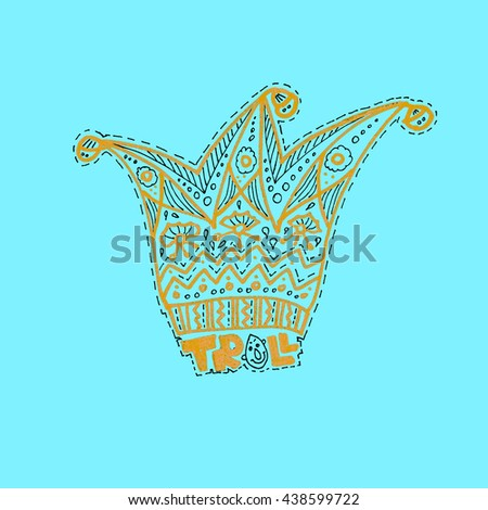 Jester hat. Image of the patterned cap.Gold drawn on a blue background. Troll. - stock vector