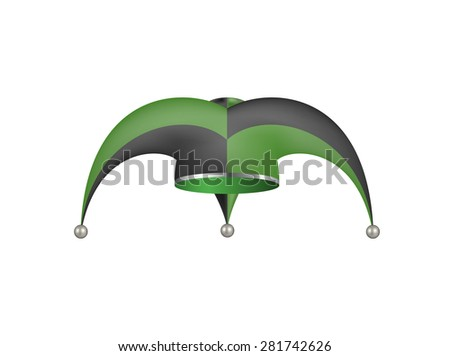 Jester hat in black and green design  - stock vector