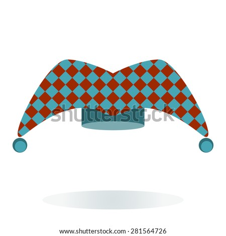 Jester hat in blue and red design - stock vector