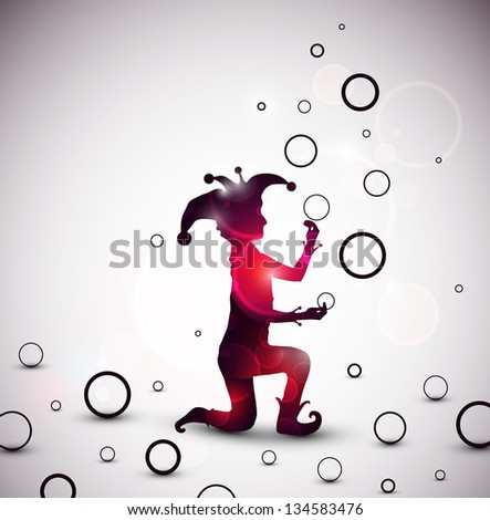 Jester juggling rings. Eps 10 - stock vector