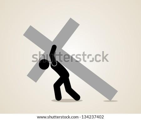 jesus carrying cross - stock vector
