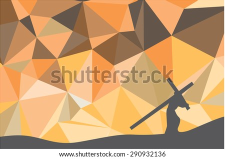 Jesus carrying the cross on the ground in orange. - stock vector