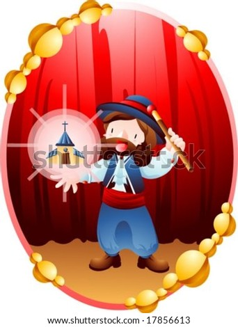 Jesus Christ and Christian - the Lord perform amazing magic show with a brown magic wand in the performance stage on a background with red curtain and wooden floor : vector illustration
