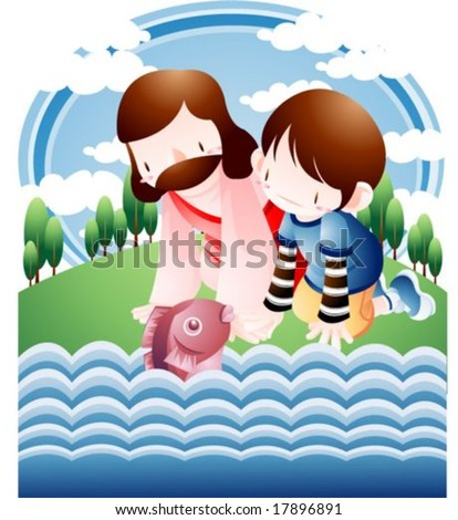 Jesus Christ and Happy Christian : vector illustration - stock vector