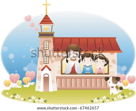 Jesus Christ and the Children - stock vector