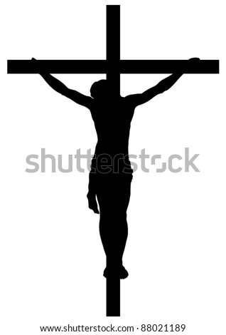Jesus Christ Crucifiction Silhouette - stock vector