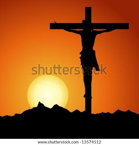 Jesus Christ crucified in vector art - stock vector