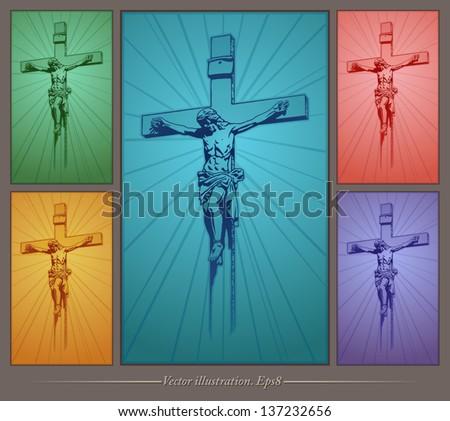 Jesus Christ, crucifix, blessing, cross, Christianity, vector - stock vector