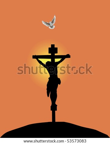 Jesus Christ crucifixion against the orange sky and a flying up pigeon - stock vector