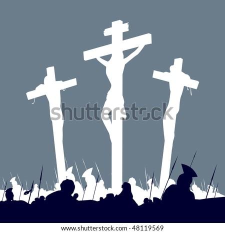 Jesus Christ crucifixion - scene with three crosses. Calvary crucifixon scene with three crosses. Vector Illustration. - stock vector