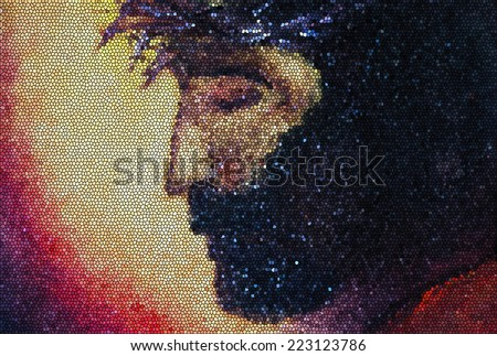 Jesus Christ Holy Spirit Art stained Glass Window at the Church - stock vector