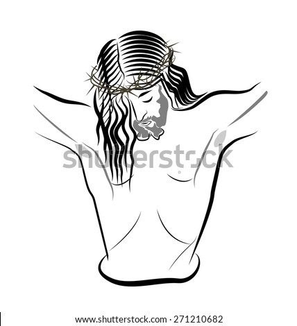 Jesus Christ on imaginary cross - stock vector