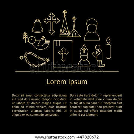 Jesus Christ religion background with text. Christianity outline pictograms. Luxury style - stock vector