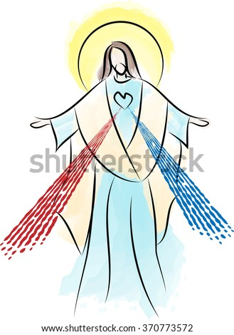 Jesus Christ Sacred Heart Divine Mercy - abstract watercolor vector illustration - stock vector