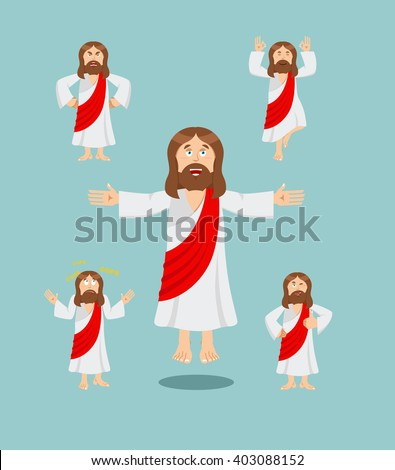 Jesus Christ set of poses. Jesus Holy man set of movements. Son of God is expression of emotions. biblical character. Christian and Catholic character - stock vector