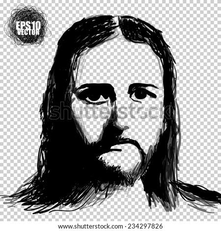 Jesus Christ vector picture illustration. sketch. - stock vector