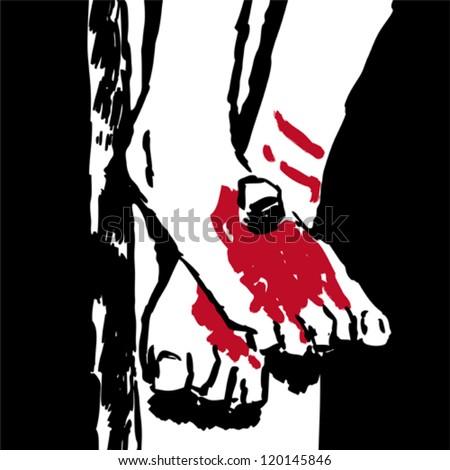 Jesus' feet - stock vector