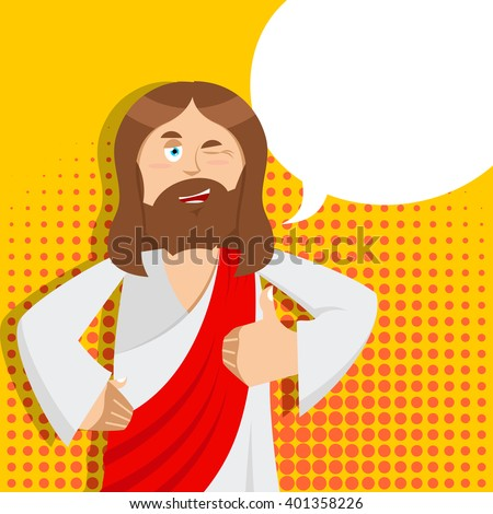 Jesus hands shows thumbs upl. Son of God. Signs all right. Thumbs up. Hand showing ok. Gesture of hand. Jesus Christ of Bible character. Holy man  - stock vector