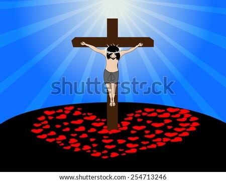 Jesus hanging on the cross-love concept - stock vector