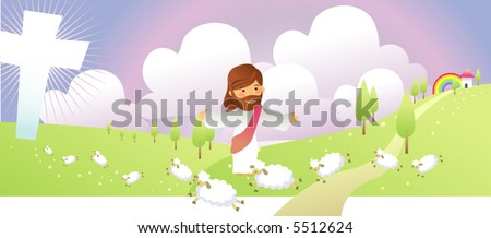 jesus loves his sheep - stock vector