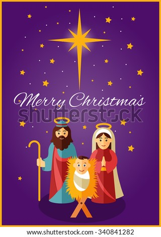 Jesus, Mary and Joseph under the shining star of Bethlehem - stock vector