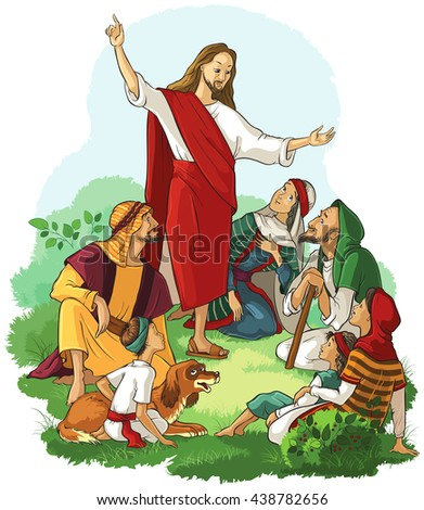 Jesus Preaches the Gospel. Also available outlined (coloring book) version