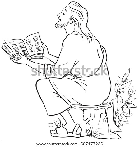 Jesus Reading Bible Coloring Page Available Stock Vector 507177235 ...