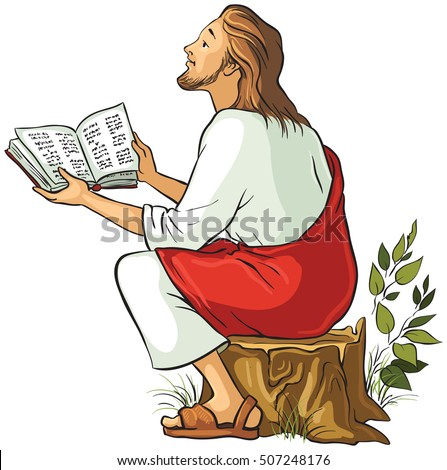 Jesus reading the Bible isolated on white background. Also available outlined version