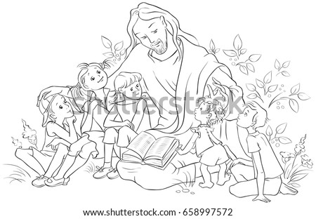 Jesus Reading Bible Children Coloring Page Stock Photo (Photo ...