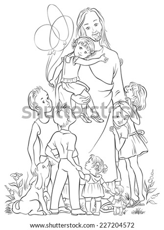 jesus with children coloring page also available colored version - Jesus Children Coloring Pages