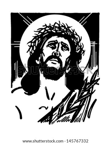 Jesus With Crown Of Thorns - Retro Clip Art Illustration