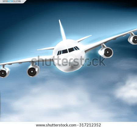 Jet airliner during the flight. Quality detailed vector graphic - stock vector