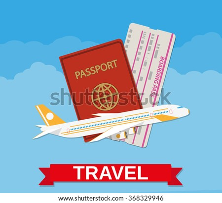 Jet airliner flying, passport, boarding pass ticket in the clouds. travel concept. vector illustration in flat design  - stock vector