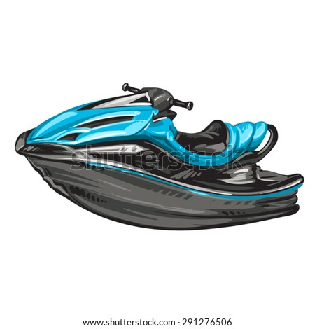 Jet boat, scooter on white background - stock vector
