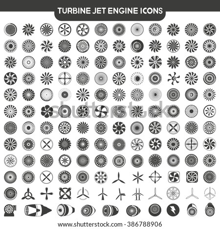 jet engine icons set, blades of turbine engine, airplane engine, engine power set - stock vector
