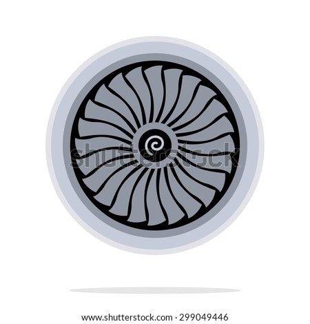 Jet engine turbine - stock vector