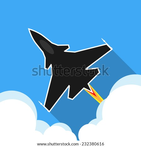 Jet fighter aircraft flying on sky - stock vector