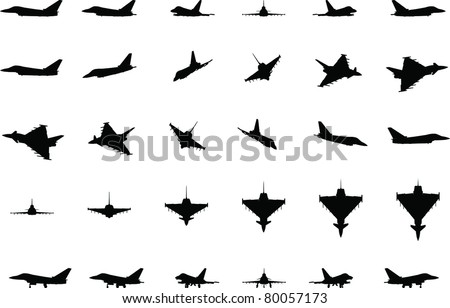 Jet Fighter silhouettes - stock vector