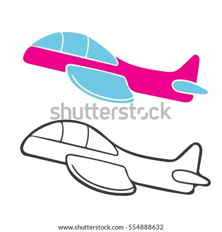 Jet Plane In Cartoon Free Style Hand Drawn Illustration Vector Isolated