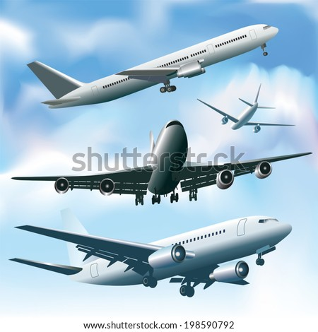 Jet planes in a sky. Vector illustration - stock vector