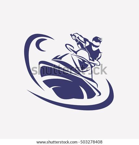 jet ski stylized vector symbol rider stock vector 503278408
